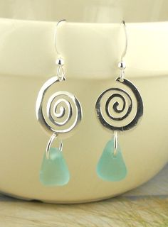 Sterling Silver Spirals GENUINE Rare Turquoise Sea Glass Earrings Eco Friendly
