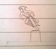 Assassins Creed assassin running across rooftops sketch
