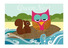 super cute surfing owl