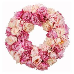 Check out this item at One Kings Lane! 24'' Peony Wreath, Faux