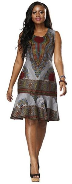 Shenbolen Woman African Print Dress Dashiki Traditional Dress Party Dresses (XX-Large, A) African Inspired Fashion, Latest African Fashion Dresses, African Dresses For Women, African Print Dresses, African Print Fashion, Africa Fashion, African Attire, African Wear, African Style