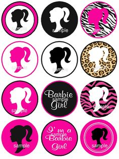 Barbie Silhouette Cupcake Toppers Instant Download by jcsaccents, $4.00