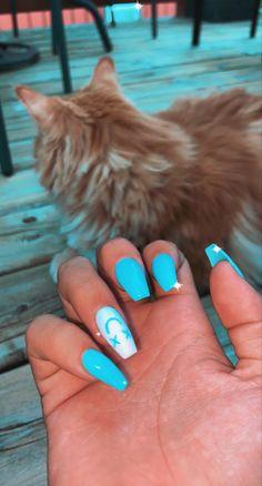 Acrylic Nails Coffin Short, Blue Acrylic Nails, Simple Acrylic Nails, Summer Acrylic Nails, Acrylic Nail Designs, Simple Nails, Coffin Nails, Edgy Nails, Stylish Nails