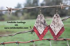 A personal favorite from my Etsy shop https://www.etsy.com/listing/270966750/leather-hair-on-cowhide-earrings-red