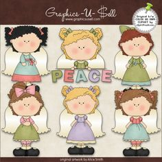 Peace Angels 1 - Whimsical Clip Art by Alice Smith