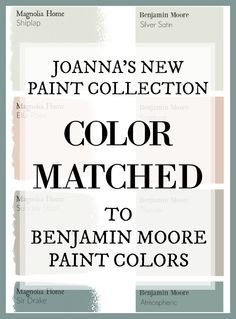 Fixer Upper Paint Colors: Magnolia Home Paint Color Matched to Benjamin Moore Fixer Upper's Joanna Gaines has a new paint line. And this site has color matched every color for you so you can get the fixer upper look at your local paint store!