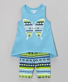 Love this Aqua Wave Butterfly Top & Shorts - Infant, Toddler & Girls on #zulily! #zulilyfinds