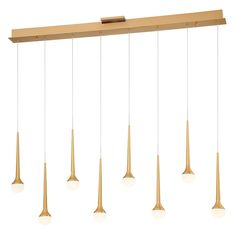 Honey Drip LED Linear Suspension Light by George Kovacs - Color: Gold - Finish: Sunset Gold - Linear Chandelier, Pendant Chandelier, Pendant Lighting, Light Pendant, Elk Lighting, Cool Lighting, Modern Lighting, Lighting Design, Ceiling Fixtures