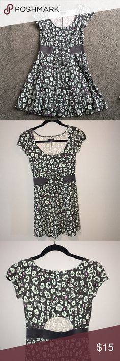 Fun sun dress Super cute leopard patterned cotton sun dress Only worn once Small cutout in back Cap sleeves American Eagle Outfitters Dresses