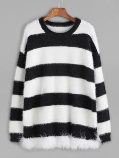 Shop Black And White Striped Mohair Sweater online. SheIn offers Black And White Striped Mohair Sweater & more to fit your fashionable needs.