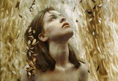 the paintings and artwork of brad kunkle. gold leaf artist and painter brad kunkle. Brad Kunkle, Gold Leaf Art, William Adolphe Bouguereau, Painted Leaves, Art Graphique, Portrait Art, Figure Painting, Figurative Art, Female Art