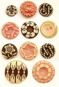 Vintage Pink and Brown Buffed Celluloid Buttons