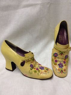 VTG Jerry Edouard Yellow Leather Floral Embroider Pumps Heels Shoes Sz 6.5 AA | Clothing, Shoes & Accessories, Women's Shoes, Heels | eBay!