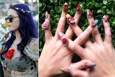 Flower Power. Katie Perry's french tip manicure with blush pink roses.