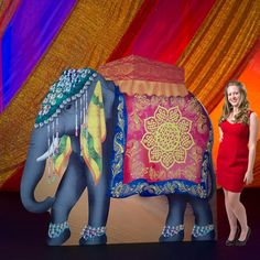 Our Asian Elephant Standee is a large gray elephant with a colorful headpiece and Asian inspired cloth. Each cardboard elephant standee measures 87 inches tall x 92 wide. India Theme Party, Indian Party Themes, Indian Theme, Arabian Nights Prom, Arabian Party, Arabian Nights Theme, Asian Elephant, Grey Elephant, Elephant Stuff