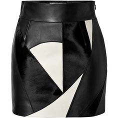 Fausto Puglisi Leather Patchwork Skirt (€640) ❤ liked on Polyvore featuring skirts, bottoms, saia, faldas, multicolored, high-waist skirt, black and white high waisted skirt, high waisted leather skirt, high waisted skirts and leather skirt