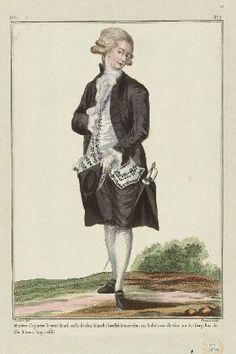 """""""Maniere de porter le petit deuïl, veste de soie blanche brodée de noir sous un habit noir de soie ou de drap, bas de soie blancs linge éfilé"""", Gallerie des Modes, 1781; MFA 44.1522"""