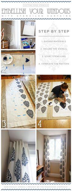 DIY stenciled curtains using the Sari Paisley stencil pattern. http://www.cuttingedgestencils.com/wall-stencil-paisley.html