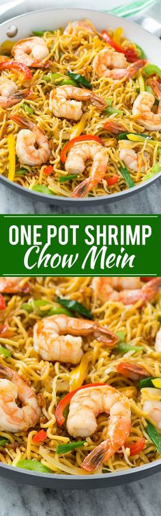 This recipe for shrimp chow mein is a quick and easy one pot meal with plenty of stir fried shrimp and vegetables tossed with noodles and a simple sauce. (simple dinner recipes for one) Fish Recipes, Seafood Recipes, Asian Recipes, Cooking Recipes, Healthy Recipes, Seafood Bake, Quick Recipes, Sauce Recipes, Chinese Recipes