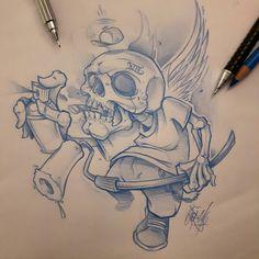 Last one for today. .. #ozer #tatouage #tattoo #tatouage #graffiti #loveletters #ironink #nantes #westcotedeporc #skull