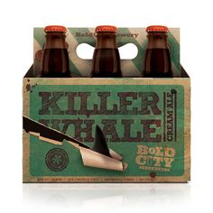 Killer Whale Cream Ale 6-pack carrier. Designed by SHEPHERD for Bold City Brewery.