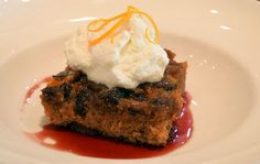 Clementine-Fig Spice Cake with orange Grand Marnier glaze, pomegranate reduction and honey whipped cream | Green Valley Grill | Greensboro, NC