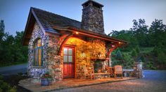 stone cabin with outdoor fireplace!!!