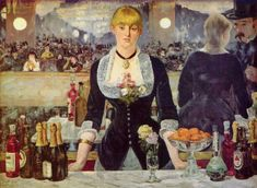 Name: Bar at the Folies Bergere Artist: EDOUARD MANET Date: 1882 In this image it shows a woman working as a bartender in front of hundreds of people at an event. I like how the artist captures the sophisticated atmosphere in the event.