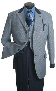 SKU#EW123 Vittorio St. Angelo Mens Blue Houndstooth Reversible Vest Fashion Suit $139 Sky Masterson