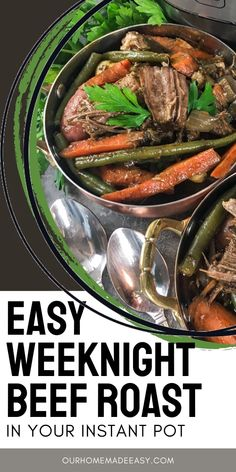 Do you think you need to save beef roast for the weekend because it takes so long to make? Well, you don't any more! Use this recipe in your instant pot to have a full meal, inlcuding veggies, on the table before you know it! Pork Recipes For Dinner, Pot Roast Recipes, Grilling Recipes, Quick Easy Dinner, Easy Meal Prep, Easy Meals, Best Comfort Food, Comfort Foods, Roast Beef