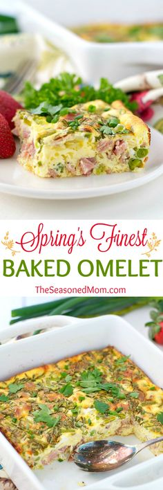 Spring's Finest Baked Omelet is the easiest way to serve eggs to a crowd! Bursting with fresh asparagus, chives, peas, ham, and cheese, this healthy breakfast casserole celebrates all of the season's most delicious ingredients! Gluten-free and clean eating, too!