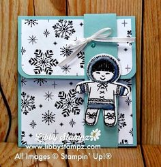Quick Gift Card Holder (Video). Quick Gift Card Holder uses the Merry Little Christmas Designer Series Paper, the Cookie Cutter Christmas stamp set and the Cookie Cutter Builder Punch. I coloured parts of the Eskimo in with Stampin' Blends.