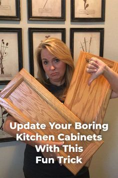 Transform the look of your kitchen with a simple cabinet update! I'm going to show you a super cool trick that I found to update your golden oak or honey oak cabinets without painting! I know you've all got 'em. cabinets | diy makeover | stain | wood |