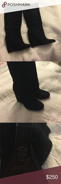 """Joie  Women's Paira Boot Suede Leather and Rubber sole Shaft measures approximately 16"""" from arch Heel measures approximately 4"""" Boot opening measures approximately 14.5"""" around A wrapped wedge adds lift to a simple boot shape. Joie Shoes Winter & Rain Boots"""