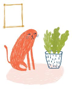 new work — tammie bennett // show up society Illustration Art Drawing, Art Drawings, Plants Are Friends, Cat Art, New Work, House Plants, Cute Cats, Graphic Art, Doodles