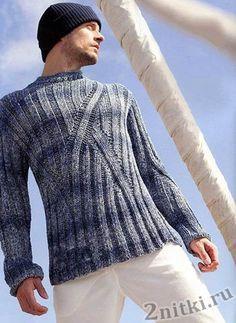 Мужской пуловер с асимметричным узором