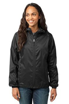 Eddie Bauer - Ladies Packable Wind Jacket Style EB501 Black. Available now at SweatShirtStation.com  #black #ladiesjacket #eddiebauer