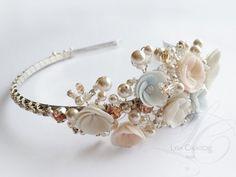 Rhinestones Bridal Tiara Swarovski Crystals and handmade resin clay flowers