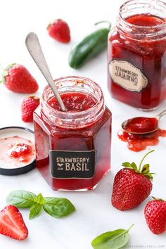 Strawberry Jalapeño and Strawberry Basil Jam. From loveandoliveoil.com.