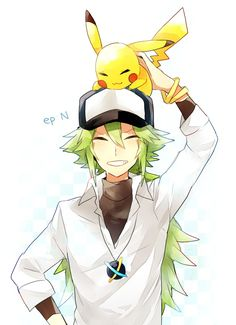 N and Pikachu Pokemon Pokemon Mew, Pokemon Comics, Pokemon Fan Art, Kalos Pokemon, Pikachu, Gijinka Pokemon, First Pokemon, Black Pokemon, Cute Pokemon