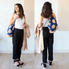 A two-in-one backpack and tote in ikat fabric. The Biennale Bag Polka. Handmade in Amsterdam by Honey Clarke