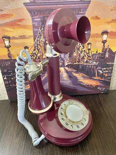 Like New vintage burgundy phone,Vintage phone,Dial phone,Stylish phone,Red phone,Soviet desk phone,Rotary phone,Soviet phone,Retro phone Retro Phone, Burgundy, Vintage, Vintage Comics, Wine Red Hair, Vintage Telephone, Amaranth Grain
