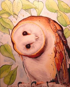 ORIGINAL Watercolor Barn Owl Raptor Bird Watercolor Painting 8x10. Like when my friend and I were hanging from the garage roof. Well, mostly my friend (was brave enough).