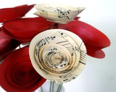Valentine's Day Sweeheart Paper Flower Bouquet in Vintage Sheet Music and a Variety of Reds, Modern Eco-Friendly Valentine Bouquet on Etsy, $20.57 AUD