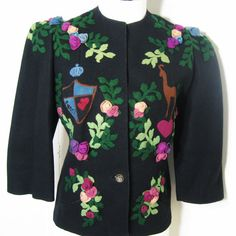 30s - 40s Vintage Fitted Jacket Black Wool Felt Embellished with Dimensional Appliques