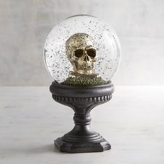 Pier 1 Imports Golden Skull Snow Globe ($30) ❤ liked on Polyvore featuring home, home decor, holiday decorations, black, golden snow globe, pier 1 imports, skull home decor, skull home accessories and black home decor