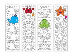 Cute Sea Animal Bookmarks – PDF Zentangle Coloring Page – Scribble & Stitch coloriage halloween à imprimer Colouring Pages, Printable Coloring Pages, Coloring Sheets, Flower Birthday Cards, Happy Birthday Cards, Cute Dinosaur, Fish Design, Art Plastique, Coloring For Kids