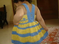 "Free pattern for this darling ""Yellow and Blue Dress"" by anuradha shukla!"