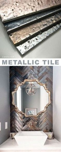 Metallic tile! Beautiful and creative tile ideas for kitchen back splashes, master bathrooms, small bathrooms, patios, tub surrounds, or any room of the house! | Listotic.com #tilebathtub #kitchentiles