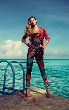 Gisele Bundchen in a printed onepiece